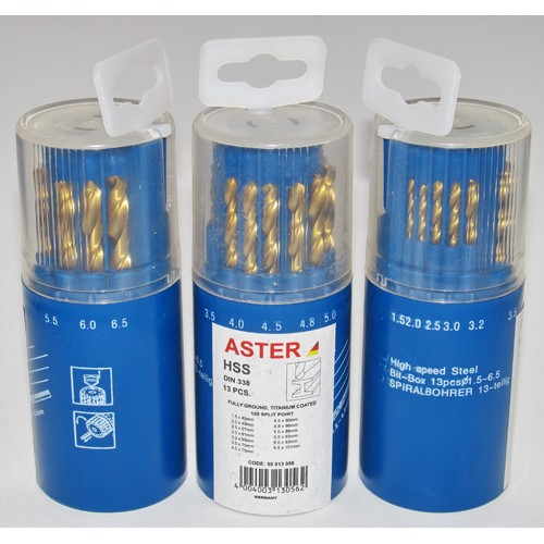 Сверло по металлу в наборе (13шт.) размер 1.5-6.5мм HSS DIN338 ASTER